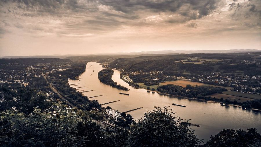 Drachenfels Water High Angle View Sky No People Nature Outdoors Go Higher Scenics Tranquility Beauty In Nature Cloud - Sky Horizon Over Water Tree