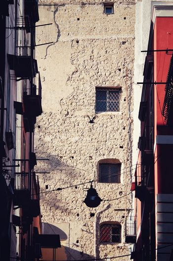 Building Exterior Built Structure Architecture Building Window Residential District Day No People Wall - Building Feature City Outdoors Low Angle View Wall House Old Nature Hanging Sunlight Laundry Drying Apartment Quartieri Spagnoli Napoli Italia