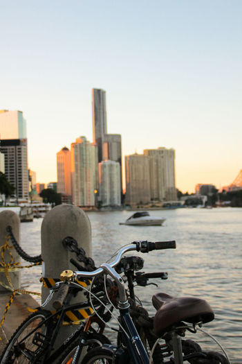 Bicycles by the river in Brisbane downtown. City Bicycle Cycling Cityscape Outdoors Urban Skyline Sunset Brisbane Brisbane City Brisbane River Australia