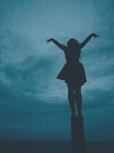 Blue Blue Tint Blue Hue Girl Standing On Pole Girl With Arms Spread Open Open Arms Flying Moody Dark Scene Colour Of Life