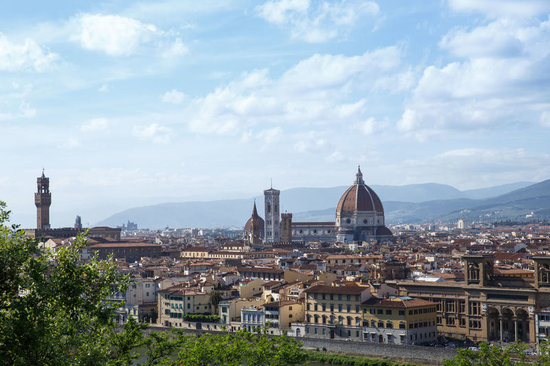 Architecture Blue Building Exterior Built Structure Cathedral City Cityscape Cloud - Sky Day Dome Duomo Santa Maria Del Fiore Elevated View Historic History Mountain Range No People Outdoors Place Of Worship Residential  Sky Spirituality Summer Travel Destinations Tree Tuscany