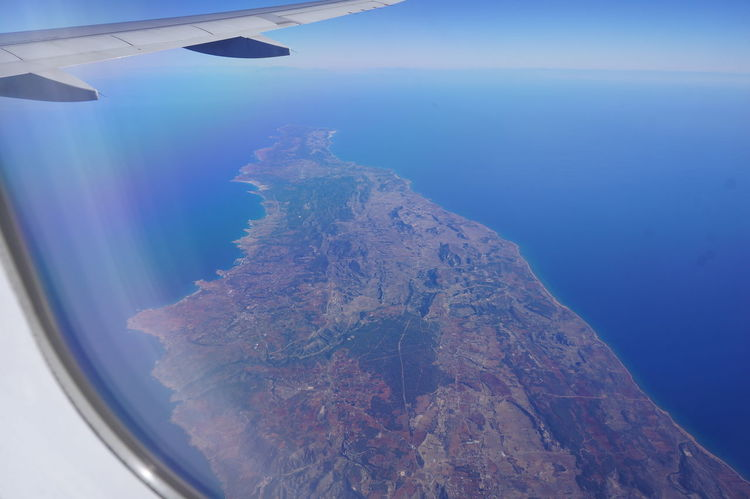 Aerial View Aircraft Wing Birds Eye View Blue Cyprus Flight Journey Majestic Peninsula Plane Sky Travel Travel Destinations Travel Photography Traveling Window Seat Plane Wing