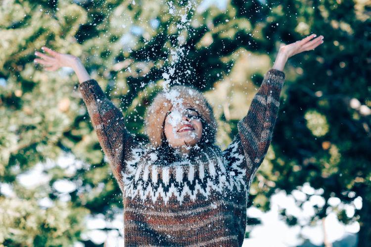 Portrait of a boy in snow
