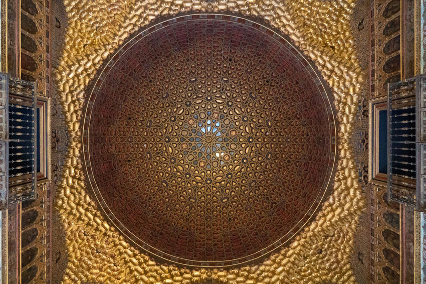 Alcazar Palace Detail Architecture Art And Craft Built Structure Circle Close-up Creativity Decoration Design Directly Above Directly Below Geometric Shape Gold Colored Indoors  Metal No People Ornate Pattern Shape Still Life Table Wall - Building Feature