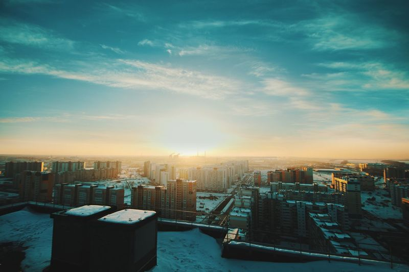 Пейзаж города Architecture Cityscape Building Exterior Built Structure City Skyscraper Sky No People Outdoors Modern High Angle View Travel Destinations Sunset Urban Skyline Day Nature