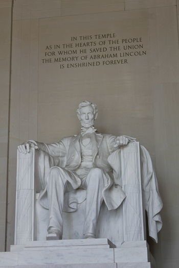 Abraham Lincoln Statue Abraham Lincoln Architecture Art And Craft Communication Craft Creativity History Human Representation Indoors  Male Likeness Memorial No People Representation Sculpture Spirituality Statue Text The Past Travel Destinations Wall - Building Feature Western Script