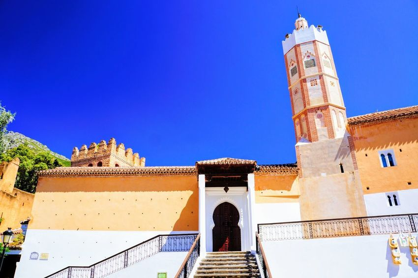 Beautiful City Morocco North Africa Road Sightseeing Travel View Vivid Africa Architecture Blue Building Chaouen Chefchaouen Color Fancy Historical Low Angle View Outdoors Religion Town Traditional Vacation World
