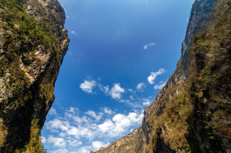 Low Angle View Of Sumidero Canyon Against Blue Sky