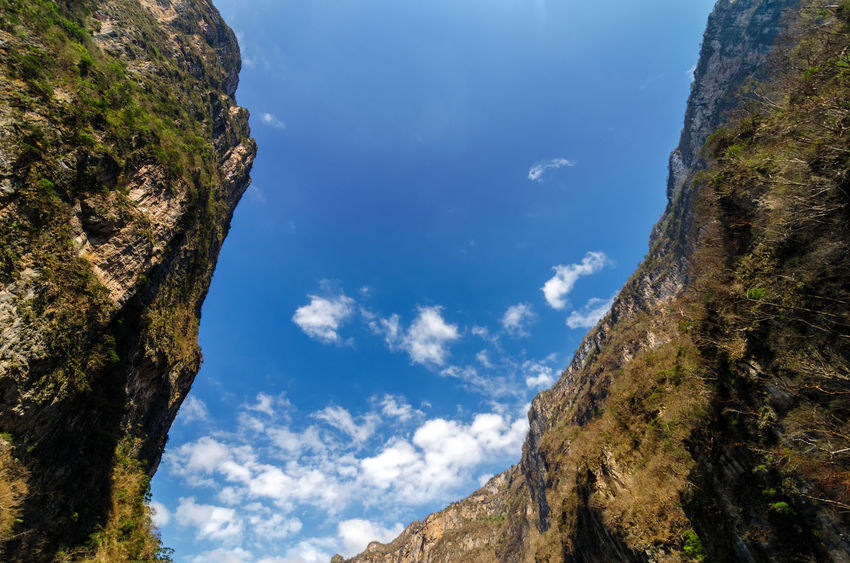 Looking up at the sky from deep within Sumidero Canyon in Mexico Adventure America Background Beautiful Canyon Color Green Gutierrez Holiday Landscape Light Mexico Mountain Nature Outdoor Outdoors River Rock Sky Sumidero Sumidero Canyon Travel Tree Tuxtla Water