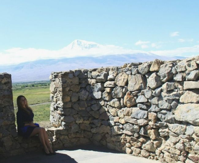 Armenia Ararat Mountain🗻🗻 Khor Virap Sitting Women Rock - Object Rear View Sky Cloud - Sky