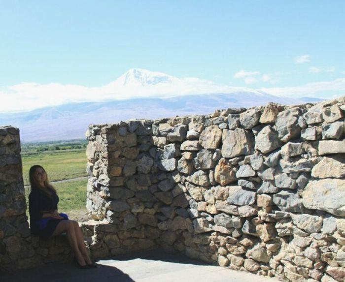 Armenia Ararat Mountain🗻🗻 Khor Virap Sitting Women Rock - Object Rear View Sky Cloud - Sky