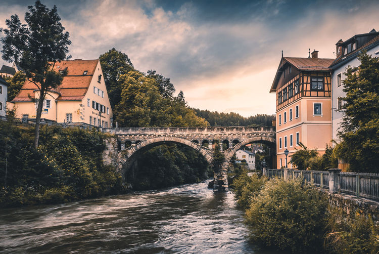 Architecture Bridge - Man Made Structure Building Exterior Built Structure Cloud - Sky Connection Covered Bridge Day Murau Nature No People Outdoors River Sky Stone Bridge Sunset Tree Water