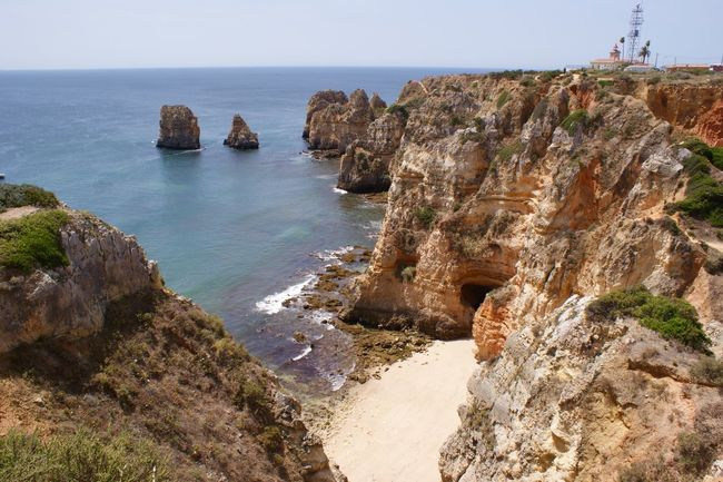 Beach Beauty In Nature Blue Bright Cactus Cliff Coastline Day Hidden Gems  Horizon Horizon Over Water Lagos Landscape Nature No People Outdoors Portugal Rock - Object Rock Formation Rock Formation Scenics Sea Tourism Travel Water