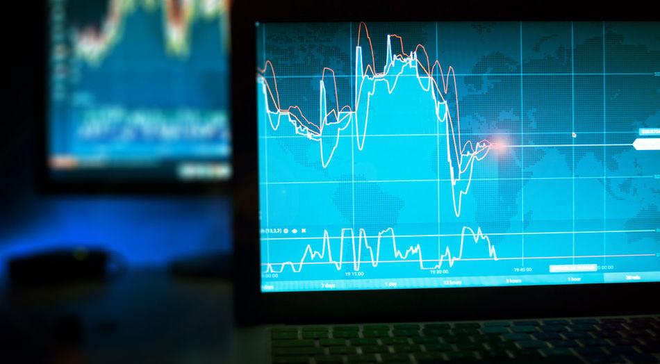 daytrader Bitcoin Blockchain Blockchain Technology Blue Chart Close-up Computer Monitor Graph Indoors  No People Technology