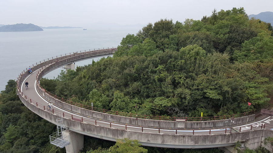 Architecture Bridge Bridge - Man Made Structure Built Structure Connection Curve Day Green Color Growth High Angle View Mode Of Transportation Nature No People Outdoors Plant Rail Transportation Transportation Travel Tree Water