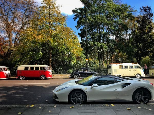 Postcode Postcards Transportation Mode Of Transport Outdoors Day The Old And The New Ferrari Volswagen