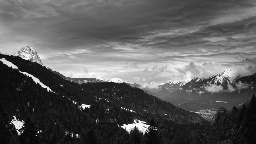 Mountain scene panorama Garmisch-Patenkirchen Mountain Sky Nature Mountains Berge Alpen Alps Bavaria Bayern Blackandwhite Black And White Monochrome Snow Winter Cold Temperature Snowcapped Mountain Mountain Peak Mountain Range Forest Trees Cloud - Sky Clouds Contrast Moody Sky Fine Art Photography
