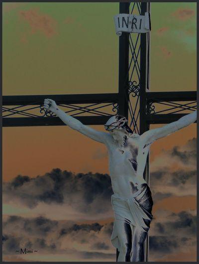 INRI Jesus Jesus On The Cross Menacing Skies Metalwork Metalwork Textures Sky Sky And Clouds Statue