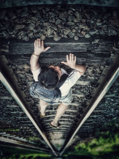 """reaching your dreams"""" EyeEmNewHere Women Photography Themes Railroad Track Human Hand Young Women Child 50 Ways Of Seeing: Gratitude"""