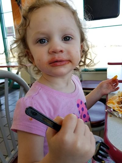 Eating Tacos Lunchtime Lunch Daughter Food Messy Food Messy Face Child Portrait Childhood Girls Looking At Camera Cute Close-up Toddler