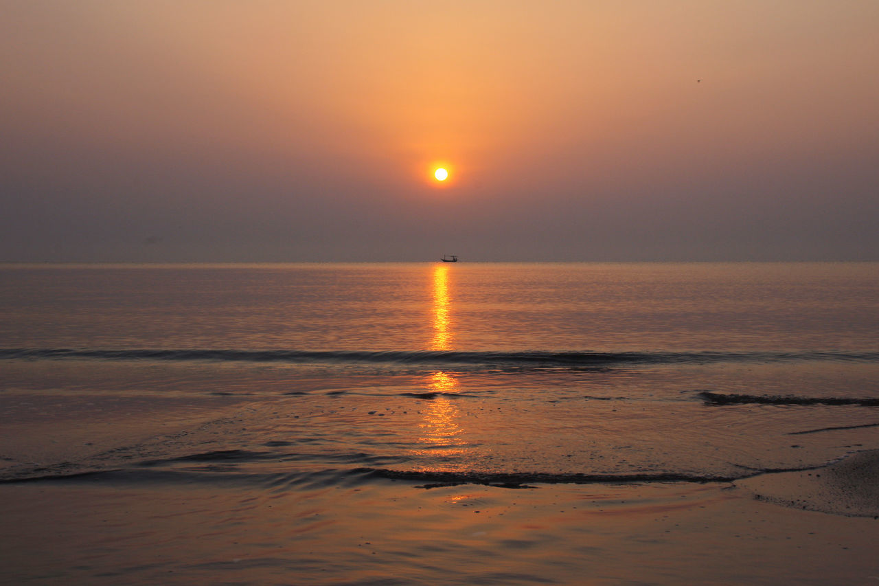 Beach Beauty In Nature Day Horizon Over Water Idyllic Nature No People Orange Color Outdoors Reflection Scenics Sea Sky Sun Sunset Tranquil Scene Tranquility Water