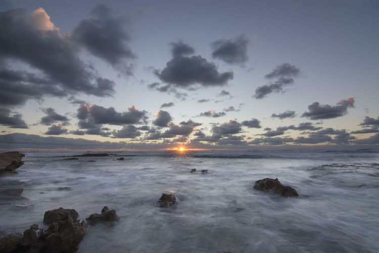Sunset @ Jisr A Zarka Beach Beauty In Nature Cloud - Sky Day Israel Jisrazarka Landscape Long Exposure Nature Outdoors Power In Nature Sea Sky Sun Sunset Tranquil Scene Water Wave
