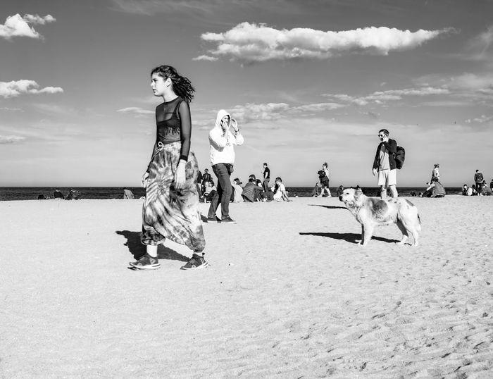 People standing on beach against sky