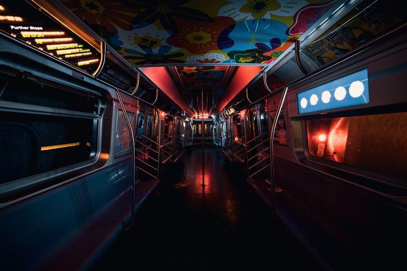 View of illuminated train
