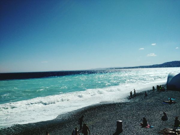 Sea Horizon Over Water Water Beach Nature Wave Sky Beauty In Nature Scenics Outdoors Travel Destinations Clear Sky Day Sea And Sky Sea Foam Green Turquoise Nice, France Nizza Francia Côte D'Azur Tranquility Life In Colors Sea Foam On The Beach Bouy In Sea Blue Sea Frothiness Beauty In Nature Blue