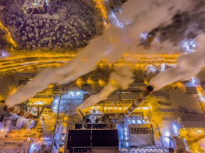 Blurred motion of illuminated factory