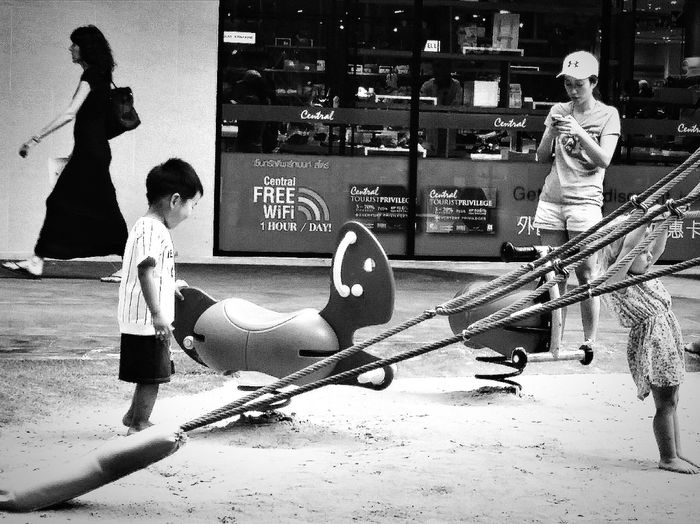 Playground Kids Kids Having Fun Kids At Play Kids Being Kids Centralfestivalmarket Chaweng_kohsamui Thailand Travelphotography Streetphotography Bnw Bnwphotography Bnwcollection Bnw_captures Bnw_world Bnw_ksm, Thailand Bnw_streetphotography