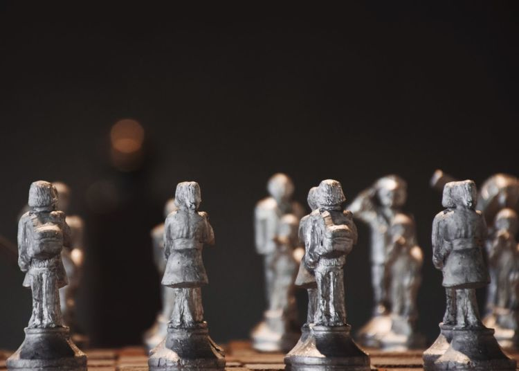 Close-up of chess against black background