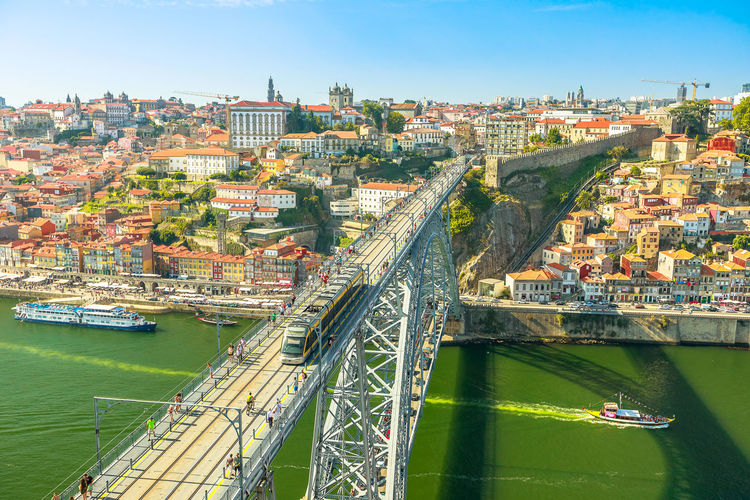 Picturesque Oporto urban landscape. Aerial view of Dom Luis I on Douro River and city skyline, Vila Nova de Gaia, Porto in Portugal. Sunny beautiful day. Portugal Porto Tourism City Aerial View Cloudscape Cityscape Landscape Panorama Europe People Church Church Architecture Architecture Town Porto Portugal 🇵🇹 Monment Oporto City Oporto Downtown Oporto Streets Douro River Portugal River Sea Bridge Built Structure Water Transportation Building Exterior Mode Of Transportation Nautical Vessel Nature Day Bridge - Man Made Structure Connection High Angle View Sky Residential District No People Outdoors