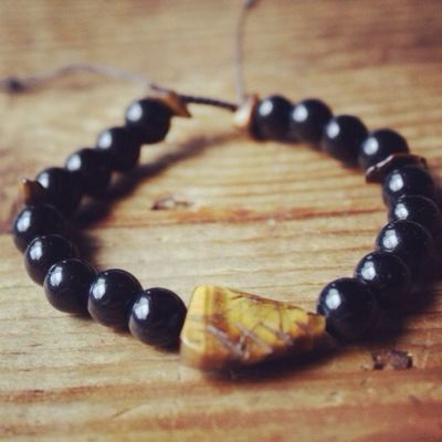 New Onyx and Tiger's Eye Wrist Mala! Mala Beads Tigers Eye Obsidian Jewelry
