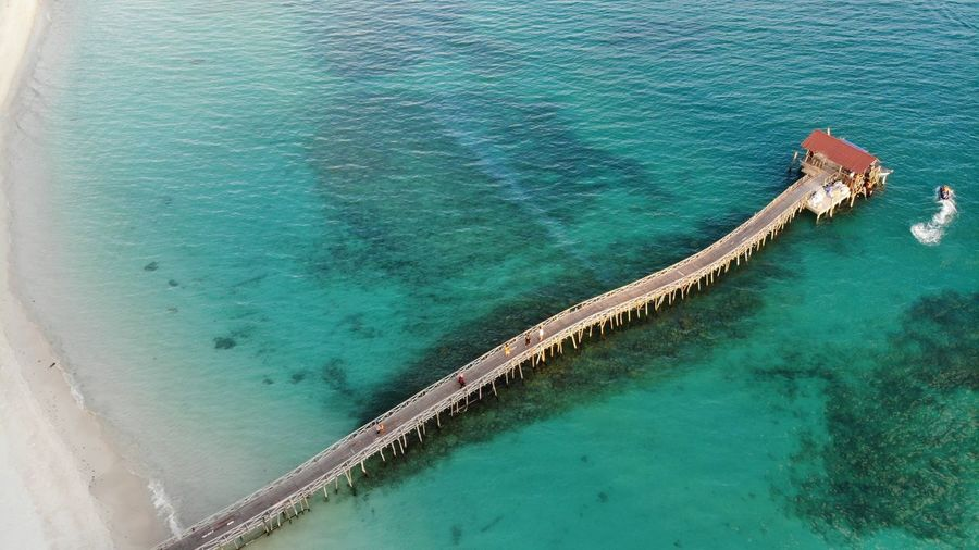 Aerial view of wooden jetty Seascape Photography Aerial Photography Aerial View Beauty In Nature Day High Angle View Jetty View Landscape Malaysia Nature No People Outdoors Scenics - Nature Sea Seascape Summer Tranquil Scene Tranquility Turquoise Colored Water