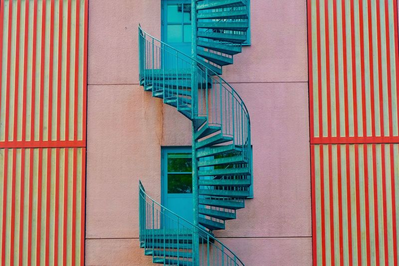 Blue Spiral Staircase By Building