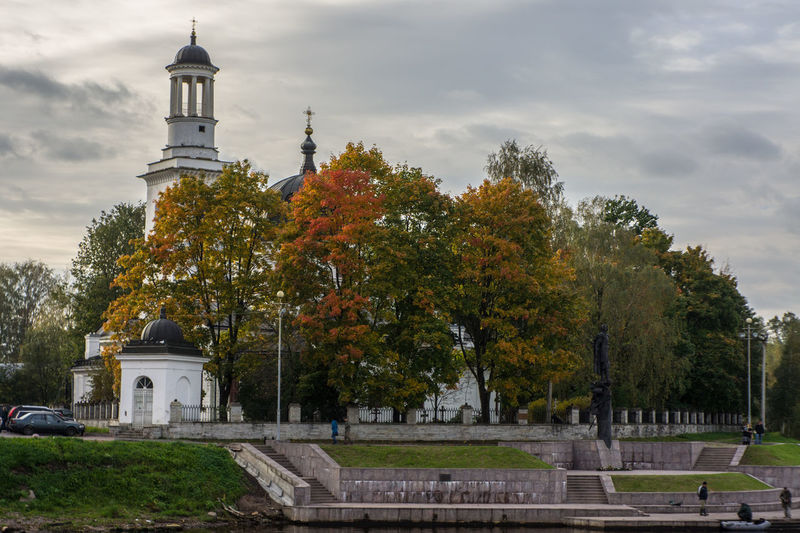 At the confluence of the Neva river and Izhora Architecture Autumn Building Exterior Church Cloud - Sky Embankment No People Outdoors Tranquility Travel Destinations Tree