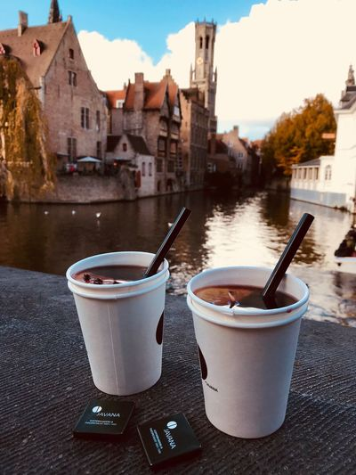 Brugge Rozenhoedkaai Building Exterior Architecture Built Structure Refreshment Coffee - Drink No People Day Drink Outdoors Close-up Water Sky Freshness