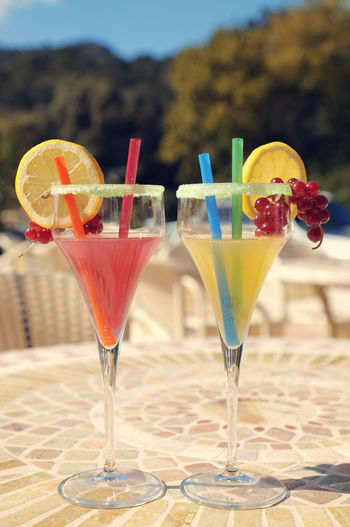 Close-up of drinks on table