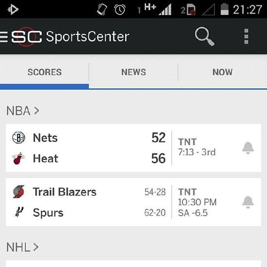 Um olho na matéria, o outro no App do SportsCenter . Letsgoheat NBA