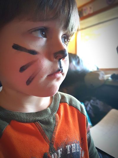 Close-Up Of Boy With Painted Face Looking Away