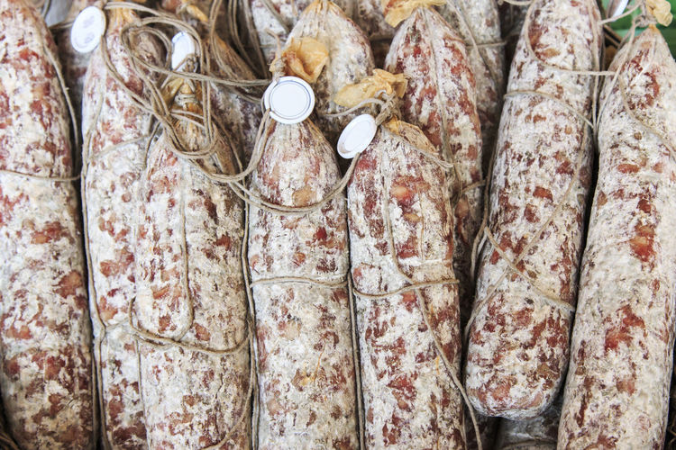 High Angle View Of Salami At Market For Sale