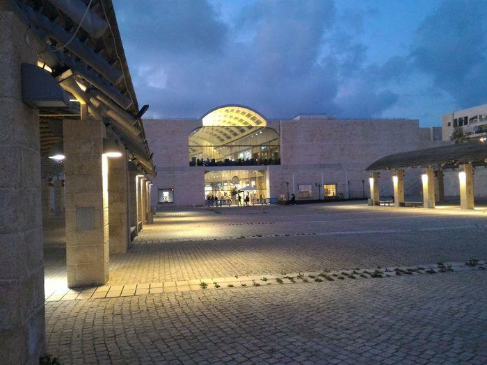 Entrance to Azrieli Mall in Modiin, Israel at Night