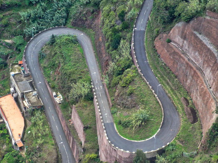 Winding road. High Angle View Transportation Road Day Nature No People Car Mode Of Transportation Travel Outdoors Curve Land Environment Landscape Roads Winding Road Path Pathway Terrain Access Road Marking