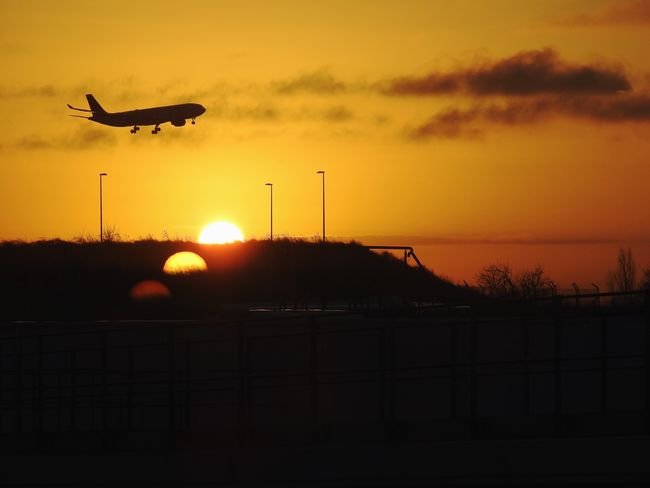 Aeroplane and Sunset Traveling Sunset Airplane Orange Color Sunset Sky Silhouette Orange Color Cloud - Sky Sun Flying Sunlight 2018 In One Photograph