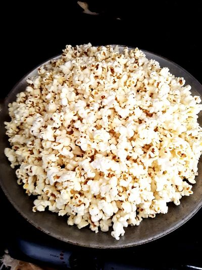 ...homemade pop corn.. Pop Corn Homemade Food JUNKFOOD Food And Drink Food Black Background No People High Angle View Close-up Plate Ready-to-eat