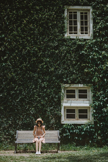 her wiht window One Person House Women Green Color Outdoors Contemplation Young Women Nature Tree Plant Architecture Building Exterior Day Front View Window Built Structure Young Adult Building Residential District Lifestyles Hat Portrait Photography Nikonphotography ASIA Thailand
