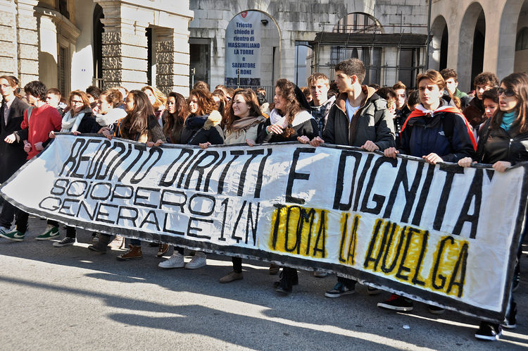 Students demonstrate in the streets of Trieste against austerity shouting slogans and waving banners Crowd Dignity & Democracy Large Group Of People Outdoors People Slogans Streetphotography Student Protest Students Trieste Triesteraccontatrieste City Life Resist
