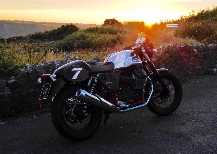 My Guzzi V7 racer Motard Motorbike V7 Moto Motorcycle Moto Guzzi Transportation Mode Of Transportation Land Vehicle Sunset Sky Road