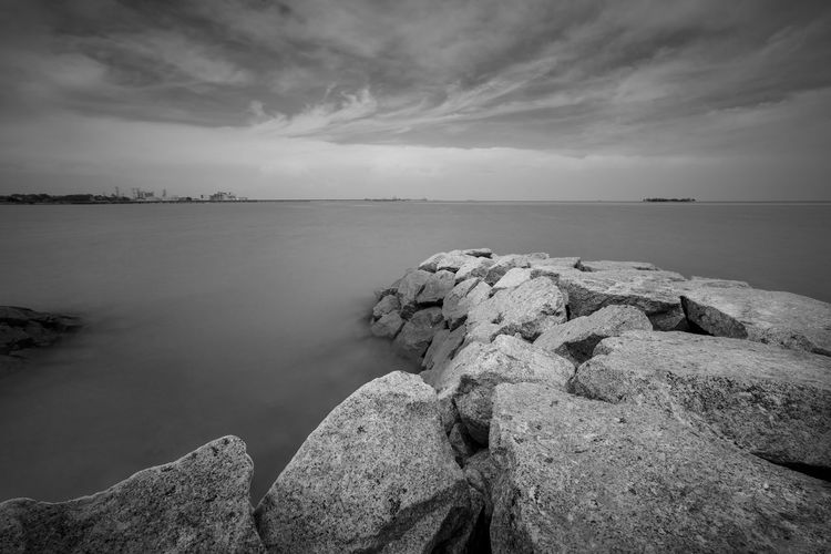 ASIA Black & White Port Dickson Wave Beauty In Nature Black And White Blackandwhite Cloud - Sky Day Horizon Over Water Idyllic Malaysia Monochrome Nature No People Outdoors Photography Rock - Object Scenics Sea Sky Stone Stone Wall Stones Stones & Water Tranquil Scene Tranquility Water